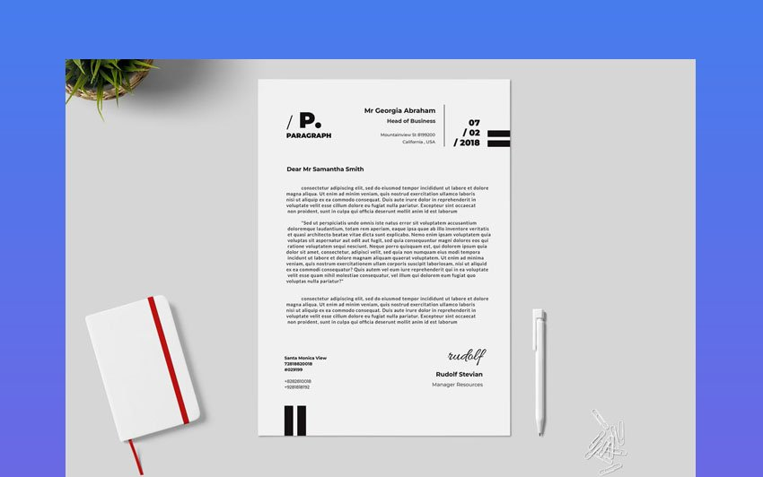 Typography Black and White Aesthetic Stationery