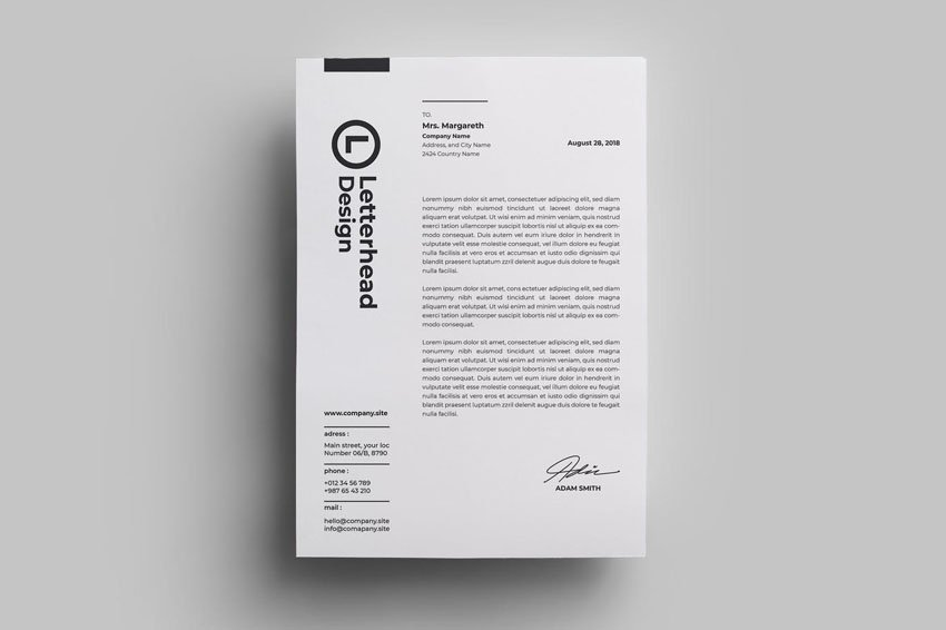 black and white stationery design