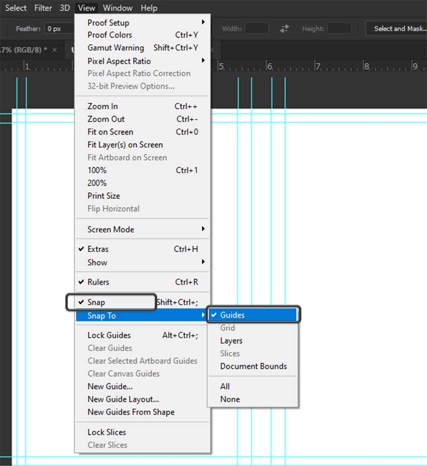 photoshop snap to guides