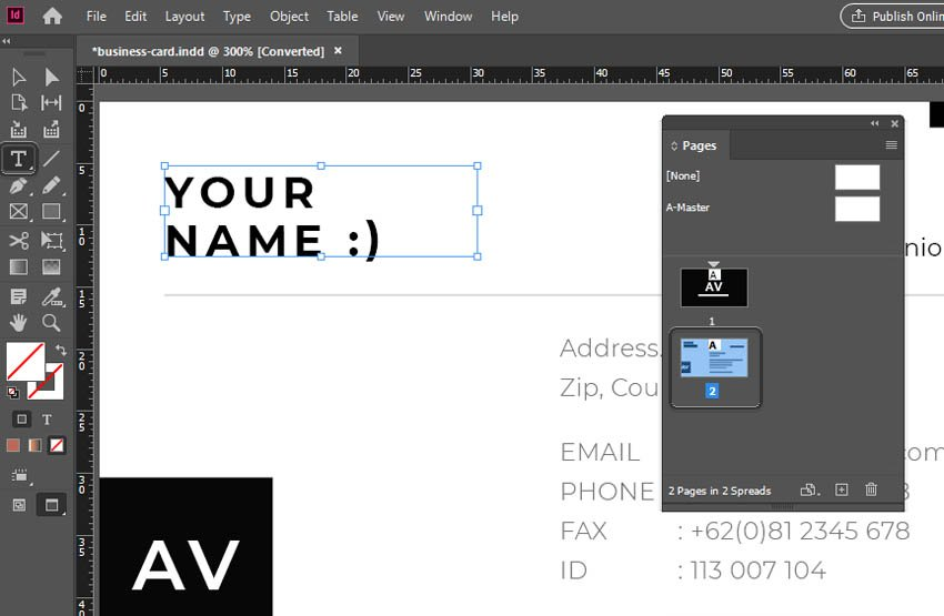 Edit Text in InDesign Type Tool