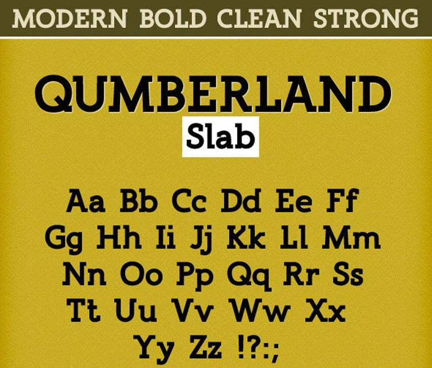 Qumberland Slab Typeface - Clean Strong Bold Font