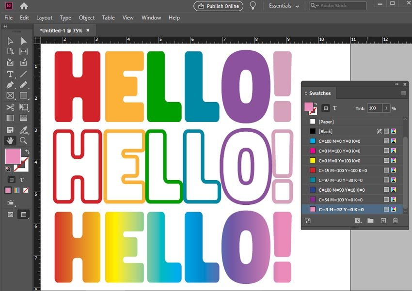 how to change font color in indesign