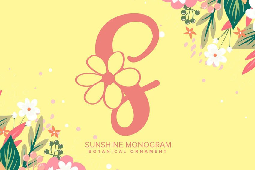 Sunshine Monogram Font Monogram Fonts for Cricut