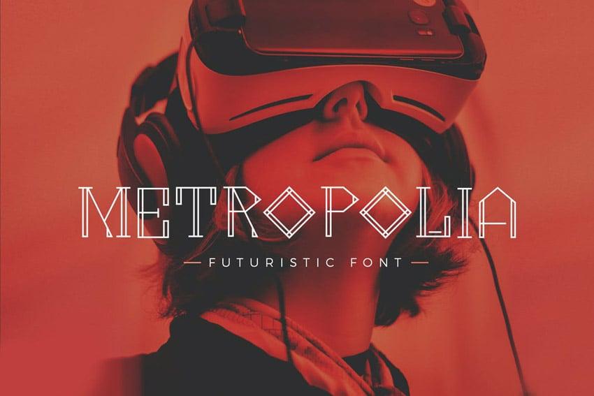 Metropolia - Futuristic font by micromove