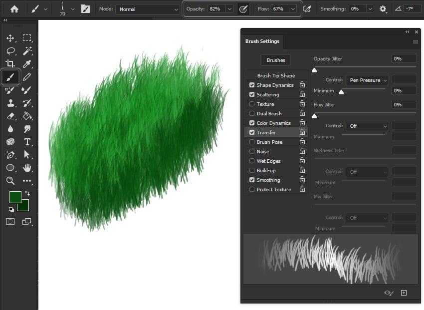 photoshop opacity brush