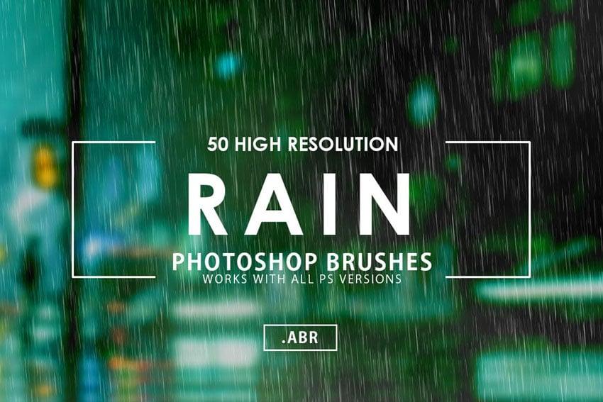 50 Rain Photoshop Brushes