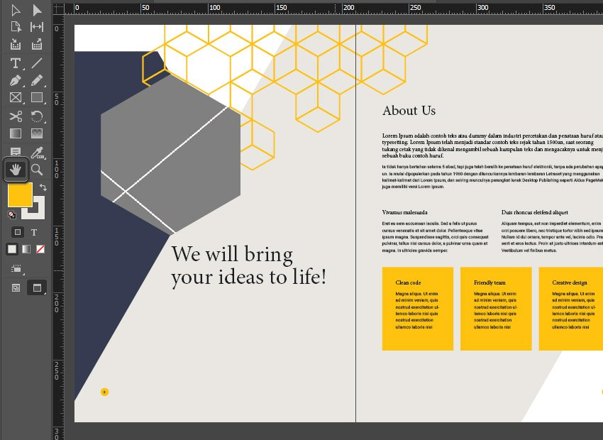 indesign hand tool