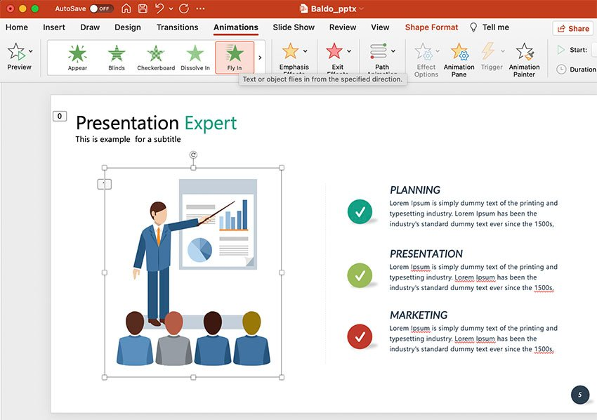 PowerPoint Animation Fly In Effect Example