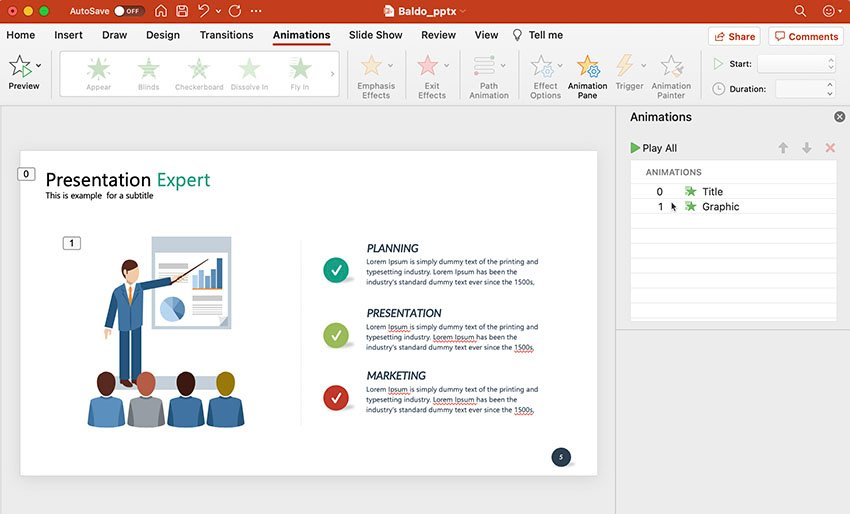 Reordered animations example in PowerPoint slide