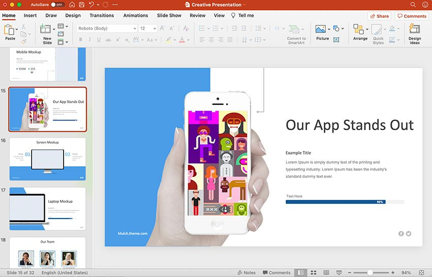Unveil Product in creative presentation slide