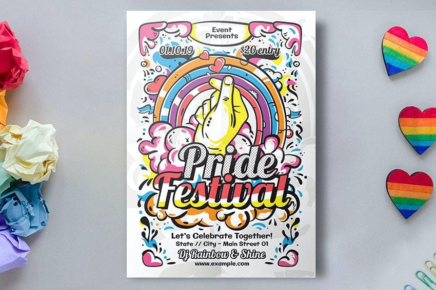 Hand Drawn Pride Festival Template (PSD, AI)