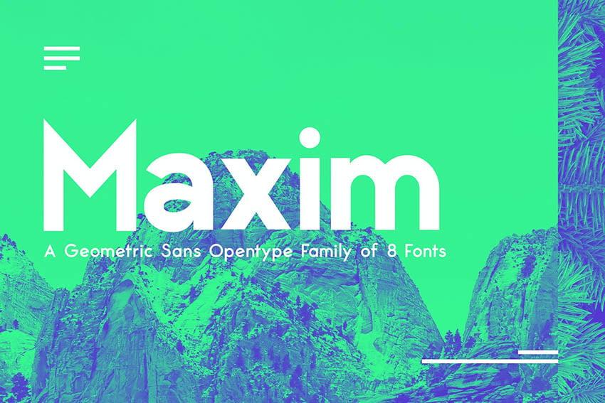 Maximus Sans - A Geometric Sans family of 8 Fonts