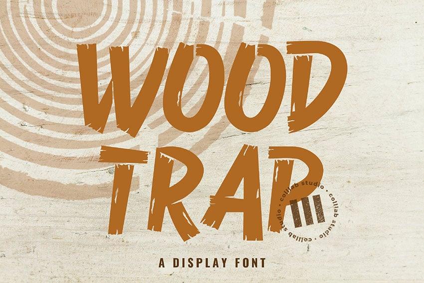 Trap Wood Texture Font