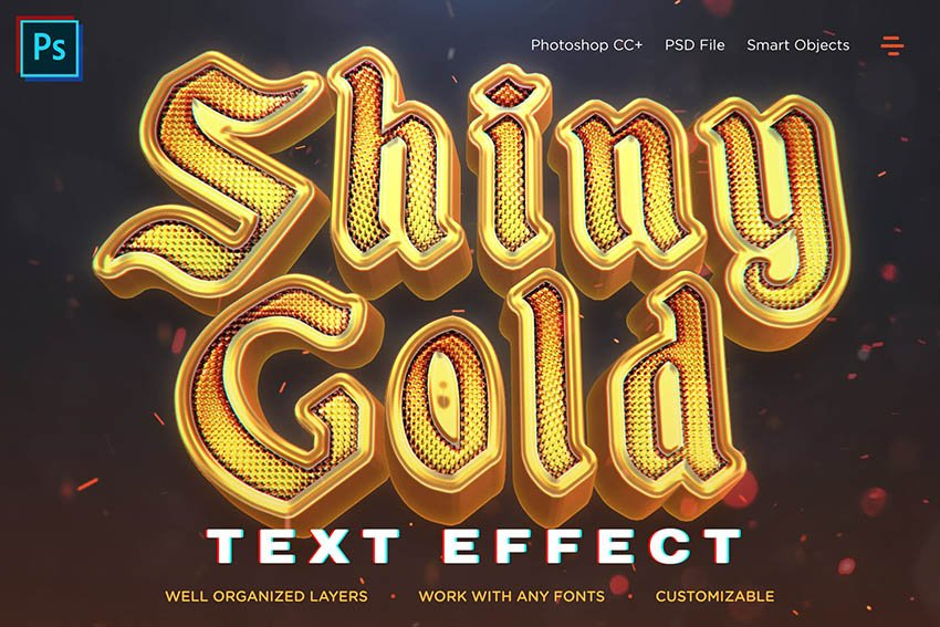 Shiny Gold Realistic 3D Texture for Fonts (Text Effects)