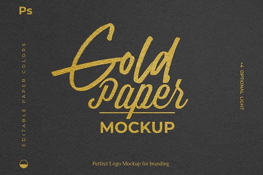 Gold Foil Paper Logo Mockup