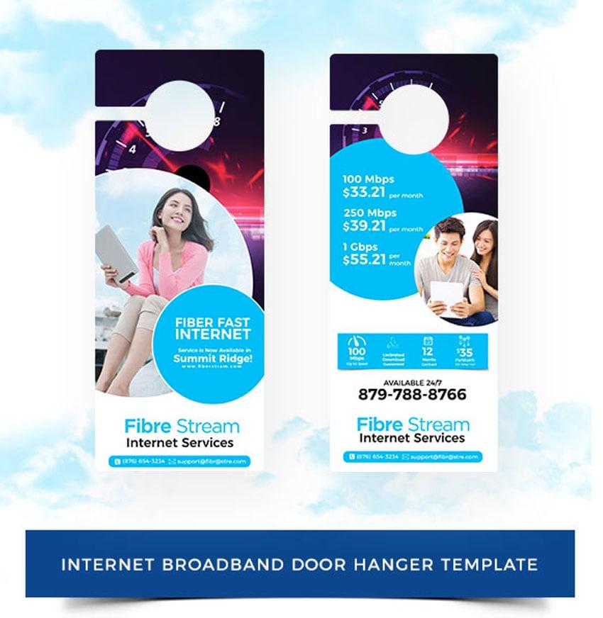 Internet Broadband Promotion Door Hanger Template