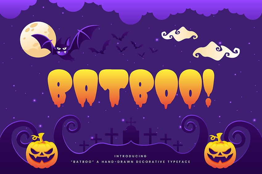 Batboo! - Hand Drawn Decorative Halloween Typeface