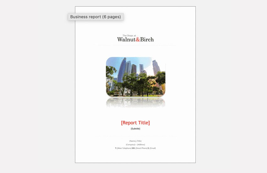 free report template