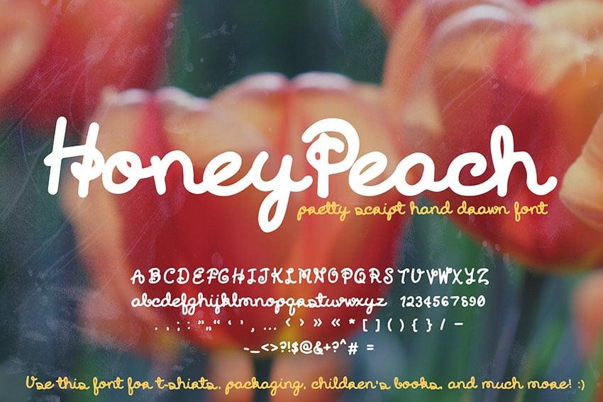 Honey Peach Script Font (Cute Handwriting Cursive)