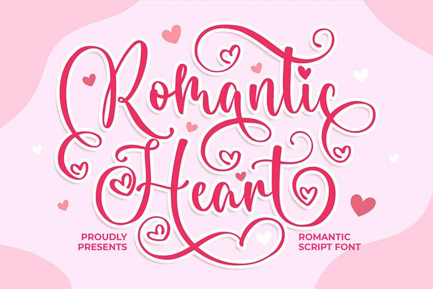 Romantic Heart a Romantic Script Font