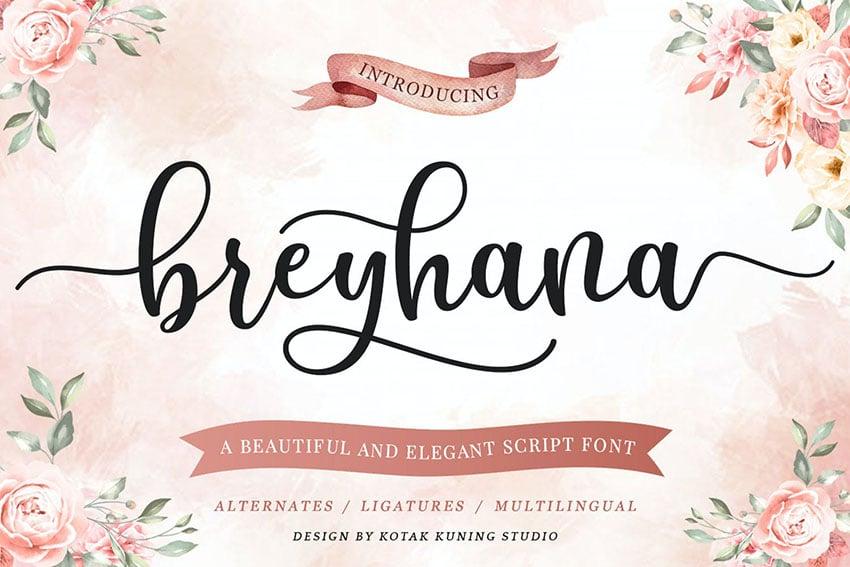 Breyhana - Romantic Script Font