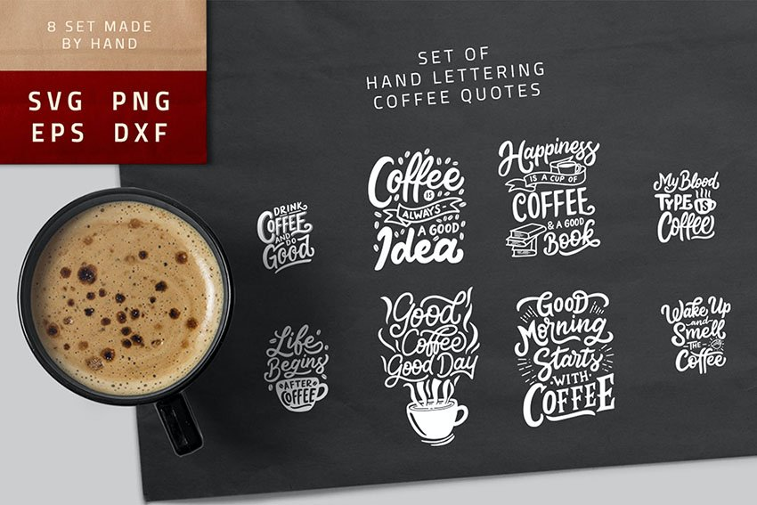 Typography Hand Lettering Coffee Quotes SVG Bundle