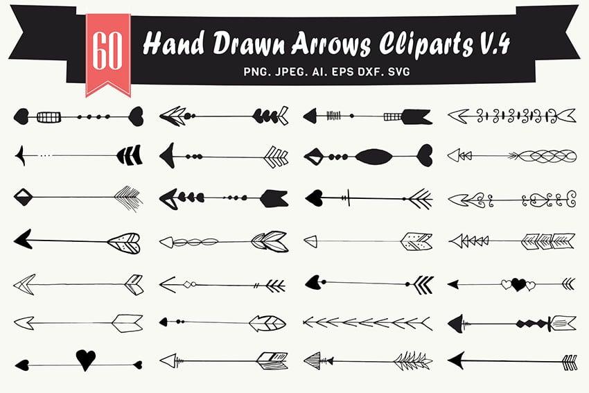 Hand Drawn Arrows Cliparts Ver. 4