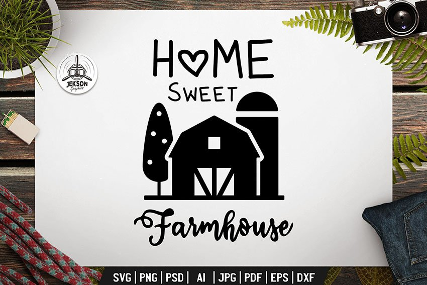 Farming Badge Design. Silhouette Farm Label