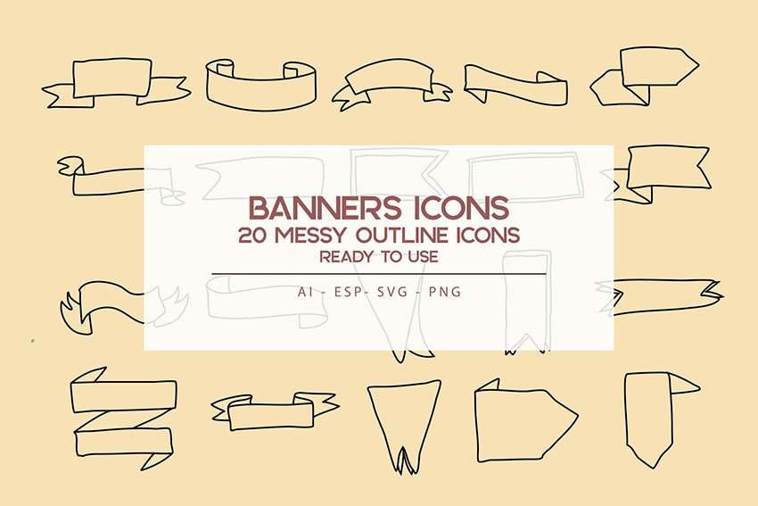 Banners outline Icons Set