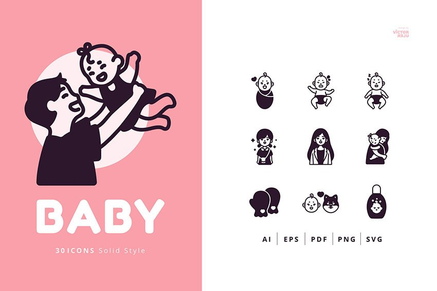 30 Icons Baby Solid Style