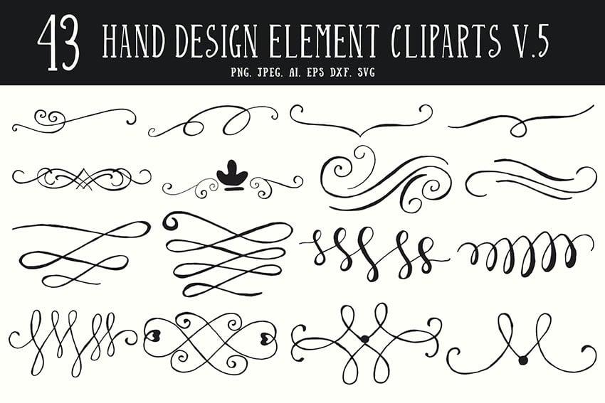 40+ Hand Design Element Cliparts Ver. 5