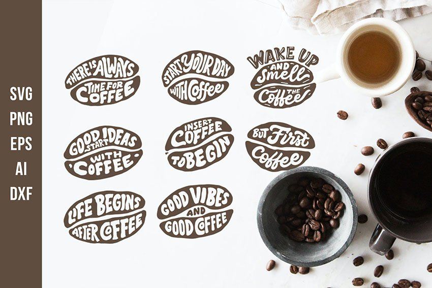 Lettering Quotes in the Coffee Beans Shape SVG Cut