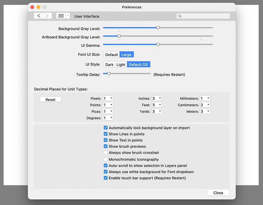 affinity publisher customize UI