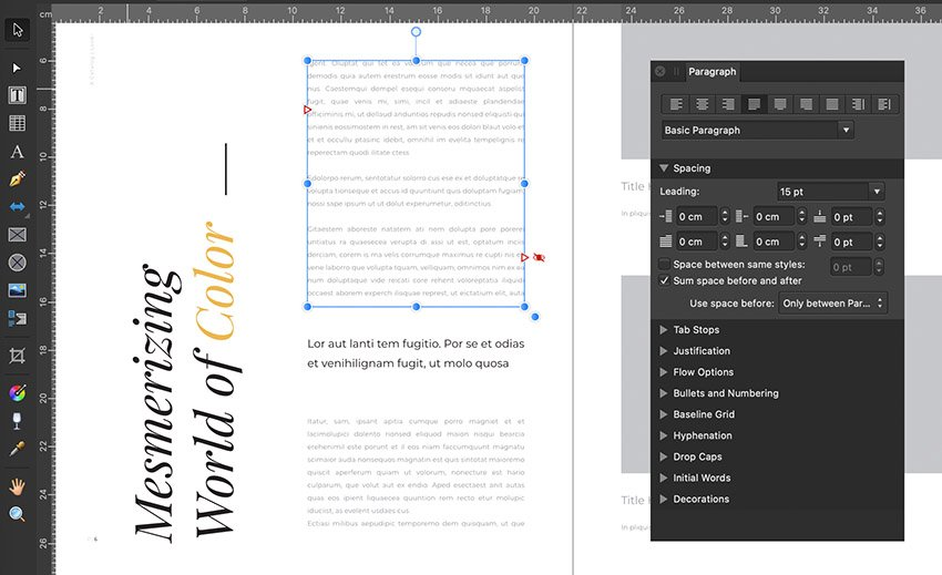 affinity publisher text