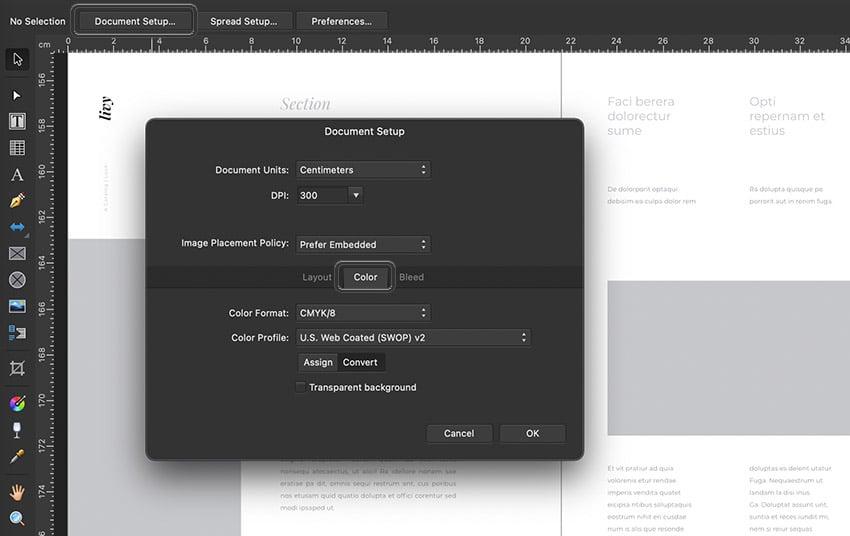 affinity publisher color mode