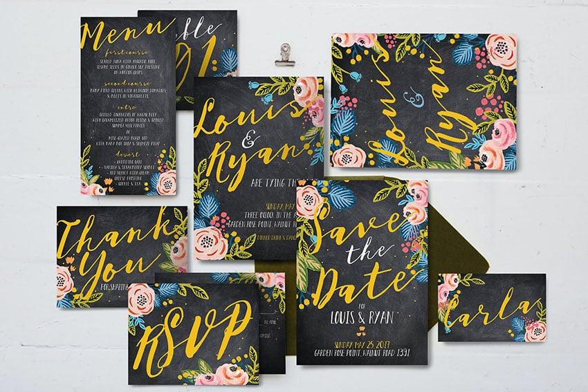 Black Floral Wedding Package