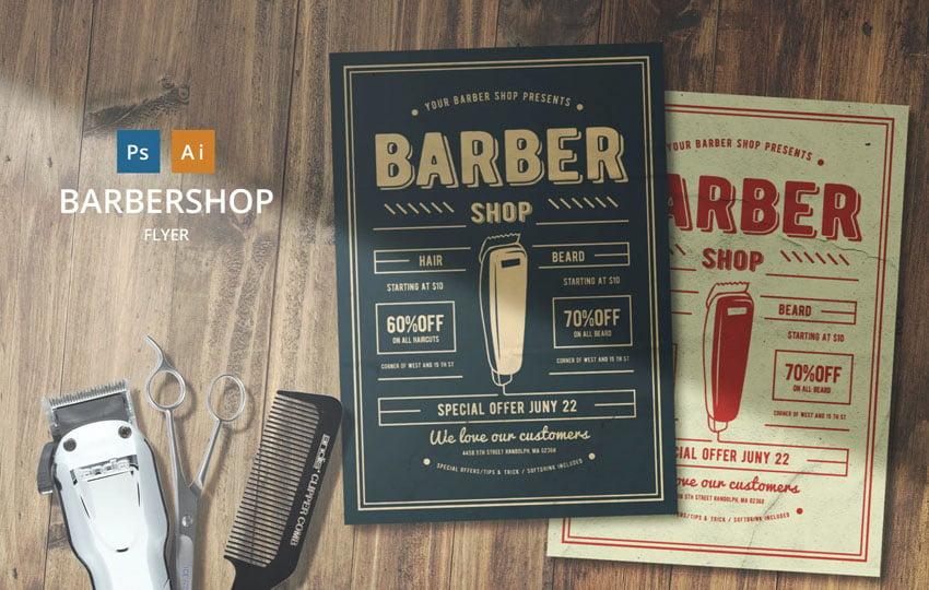 Barber Shop Affinity Designer Flyer Template