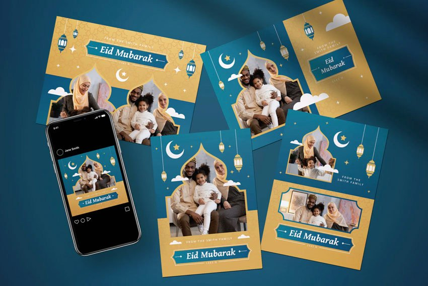 Eid Mubarak Affinity Designer Greeting Card Template
