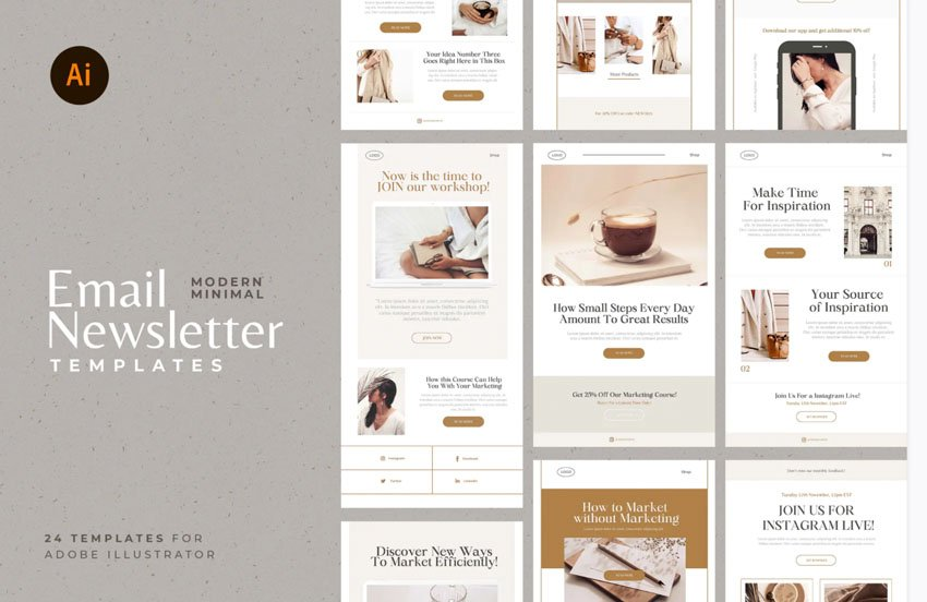 Email Newsletter Affinity Designer Templates