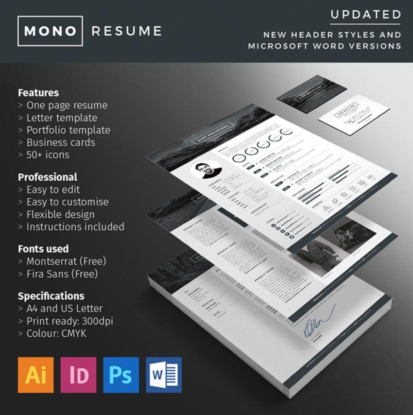 Monochrome Affinity Designer Resume Template