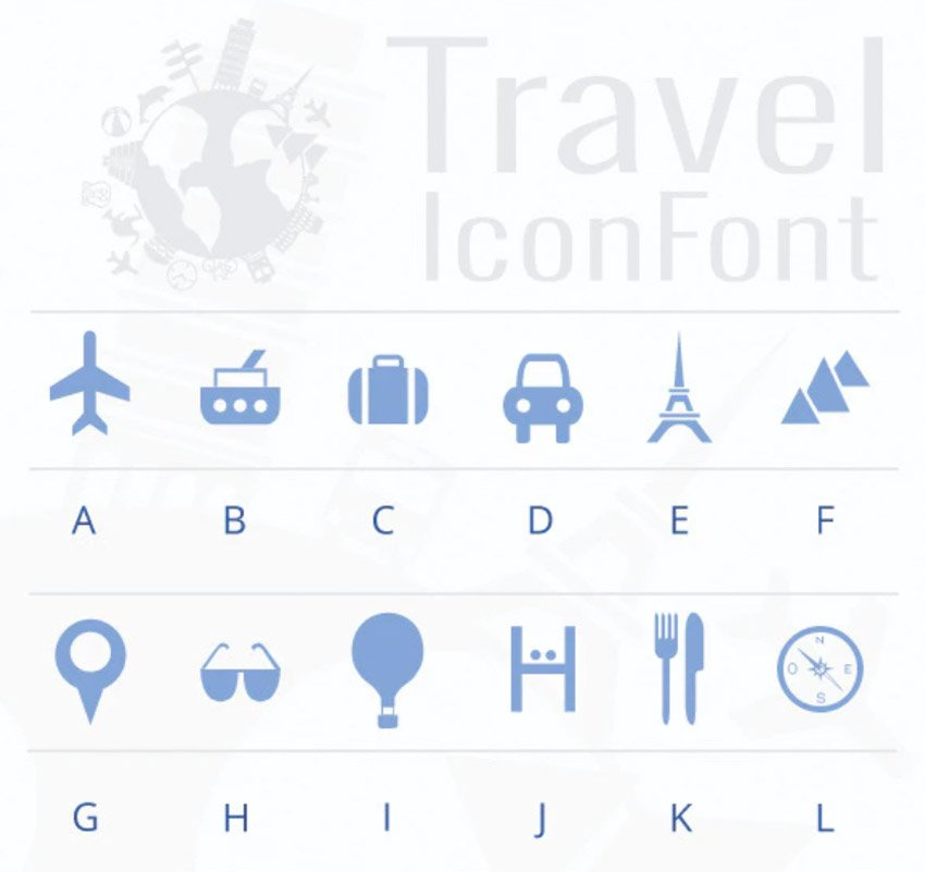 Travel Icon Font
