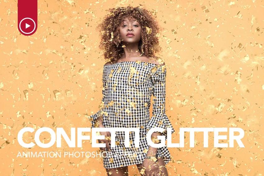 Animated Confetti Glitter Effect Photoshop Action