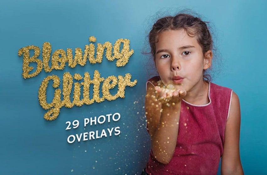 29 Blowing Glitter Photo Overlays