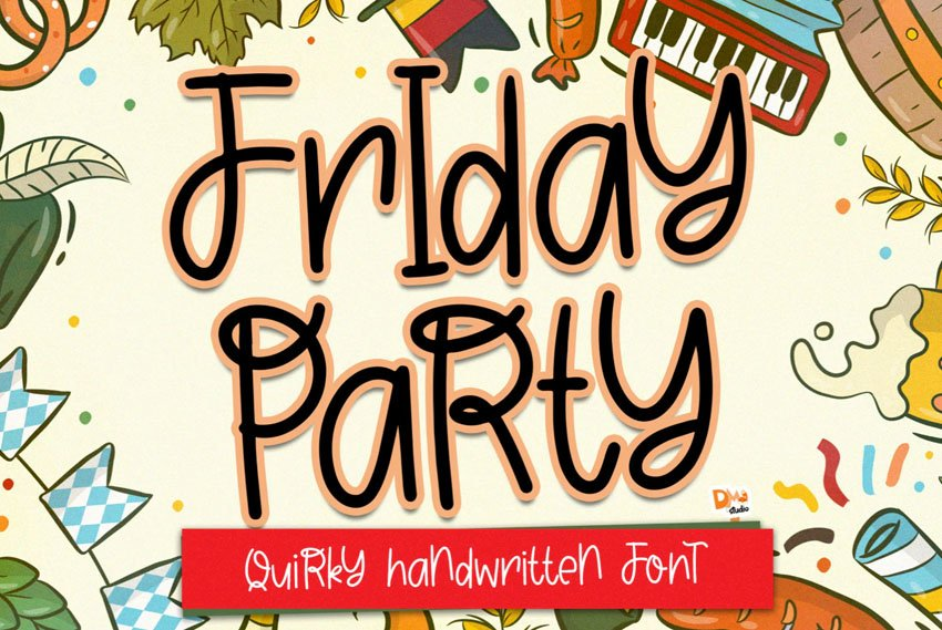 Friday Party Quirky Handwritten