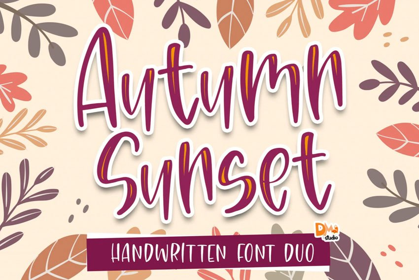 Autumn Sunset Handwritten Font Duo