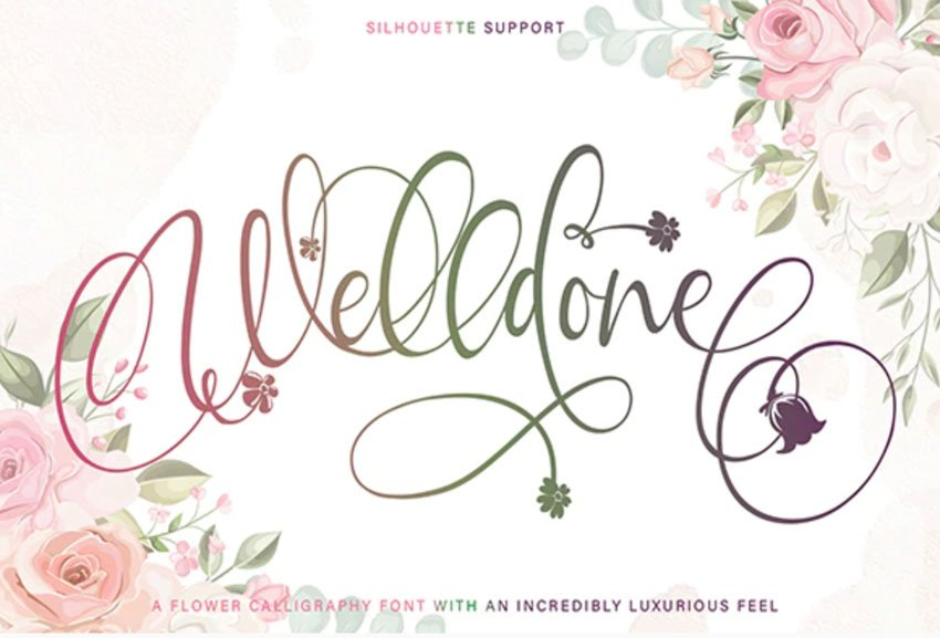 Welldone Flower Calligraphy Font