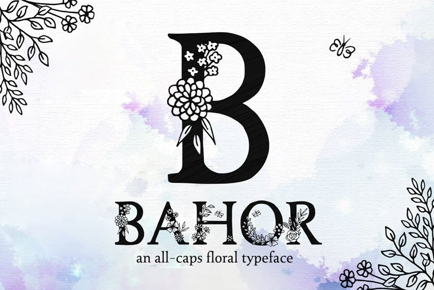 Bahor Hand Made Floral Typeface