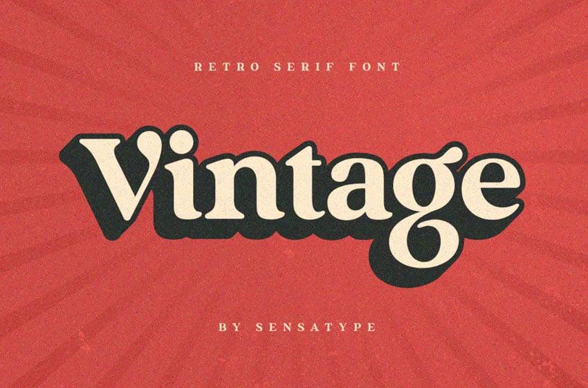 Vintage Retro Serif Font