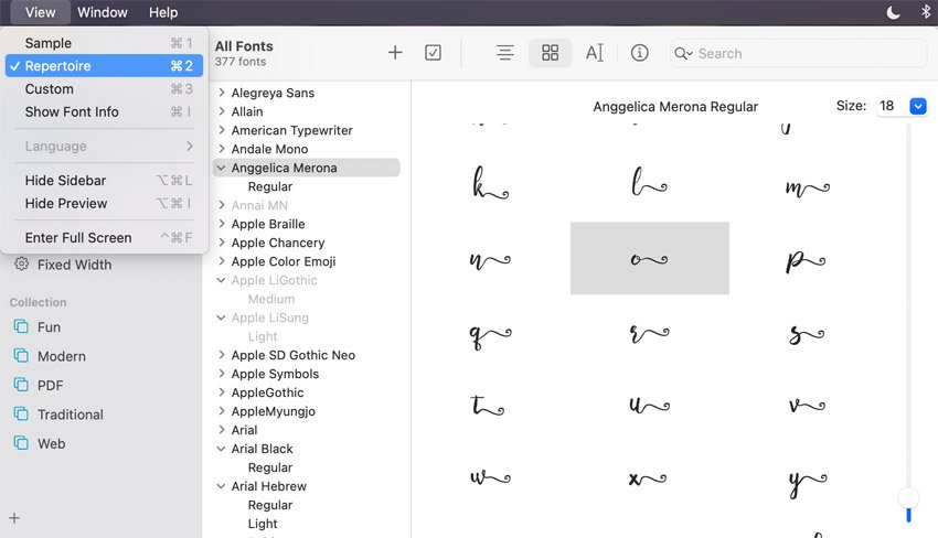 Mac Font Book