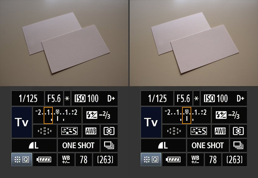 Visual differences between Light exposures of 0 and -1